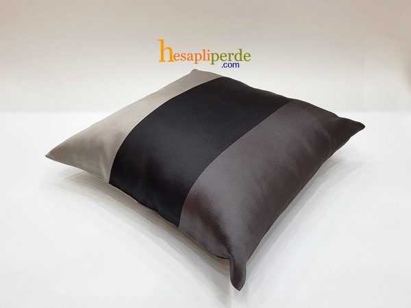 kırlent saten kumaş siya gri