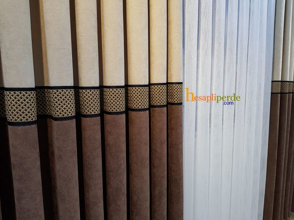 kahverengi fon perde çift renk