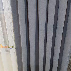 gri fon perde keten nubuk düz renk fon perde