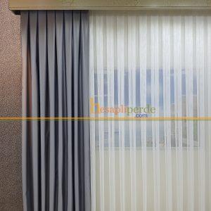 gri fon perde açık gri mat saten